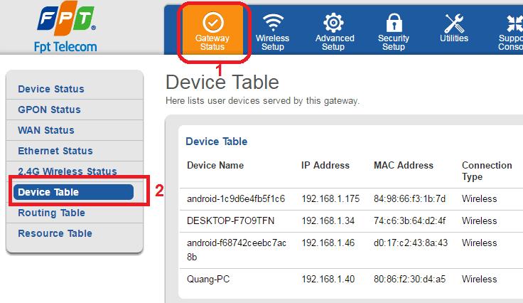 kiểm tra mác chặn kết nối wifi fpt