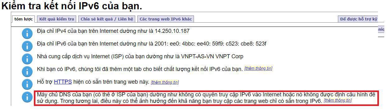Thiết bị của bạn đang truy cập Internet bằng IPv4