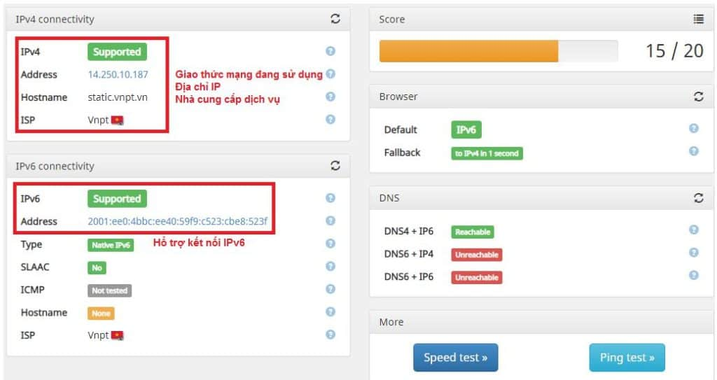 Giao diện kiểm tra IPv6