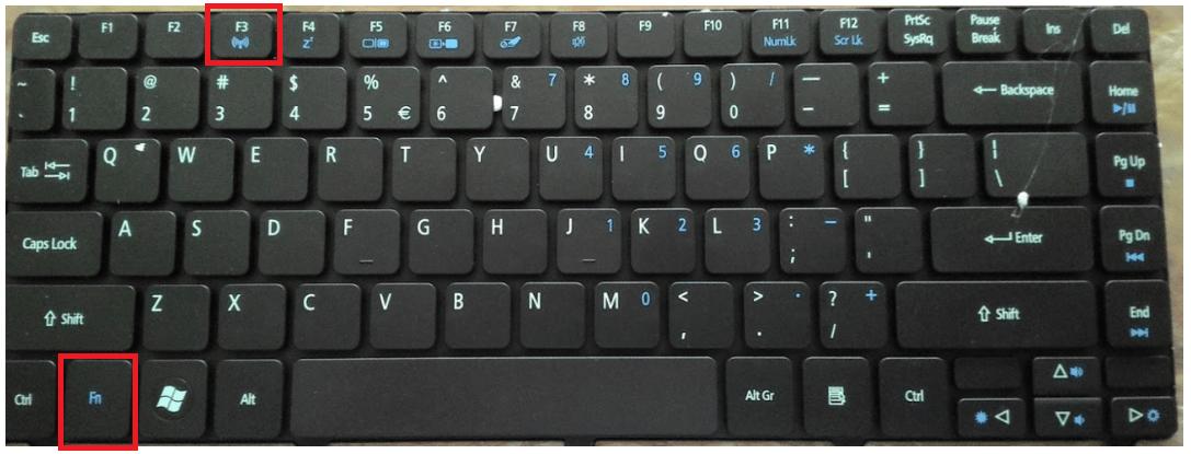 Tổ hợp phím tắt bật wifi trên laptop Acer