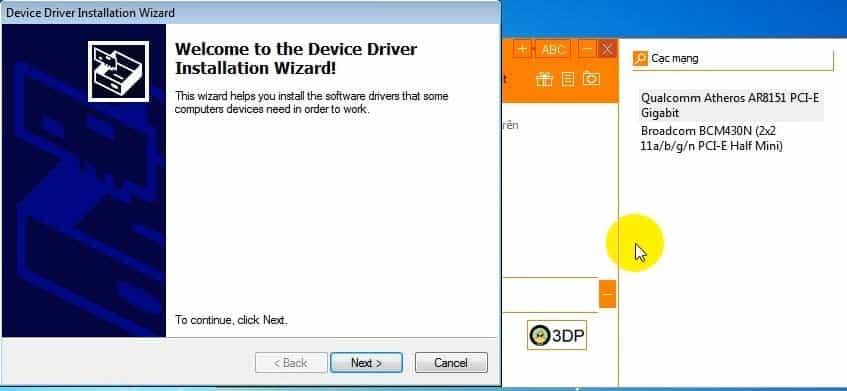 Tiến hành cài đặt driver wifi còn thiếu