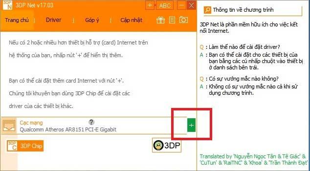 Cài đặt driver wifi bằng phần mềm 3DP Net2