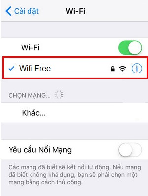 nhấn chọn nút chữ i trên biểu tưởng wifi để diện địa chỉ ip