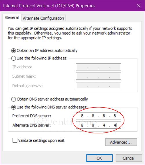cài đặt IP/DNS tự động
